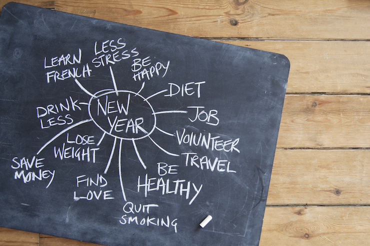 Chalk board with New Year's Resolutions written out