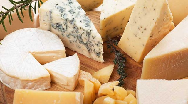 Cheese board with a variety of cheeses