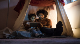 A screen may be a nice distraction, but to young eyes it can be a disturbance. Children begin carrying digital devices from the moment their dimpled fingers can carry them—72% of kids aged eight and younger had used tablets or smartphones by 2013, and more than one third of them were under the age of two.
